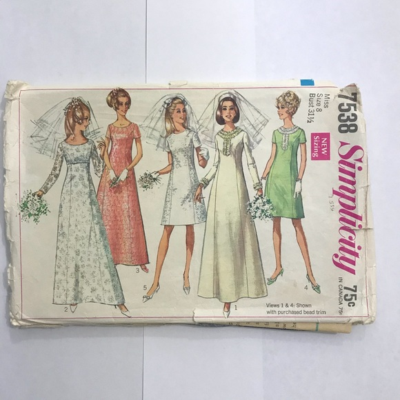 Simplicity Other | Vintage 60s Bridal Bridesmaid Dress Sewing ...